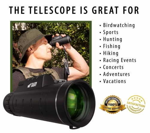 Monocular Telescope w/ Optics 12X50  -including Smartphone Tripod and Mount Adapter